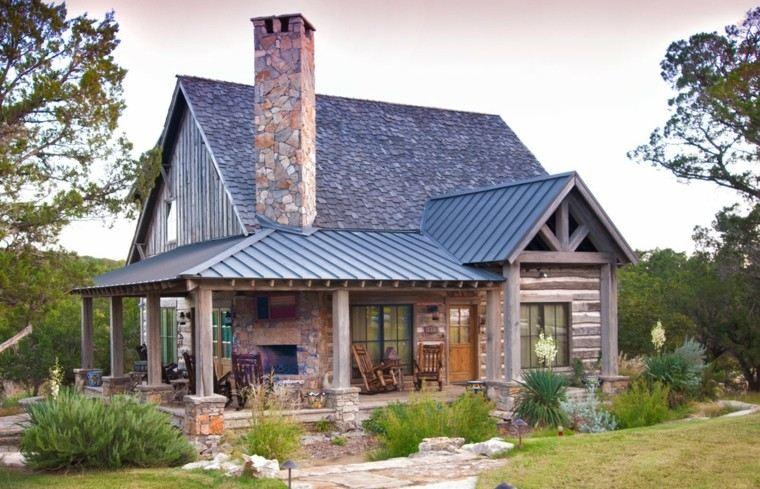 diseño casa rural chimenea piedra