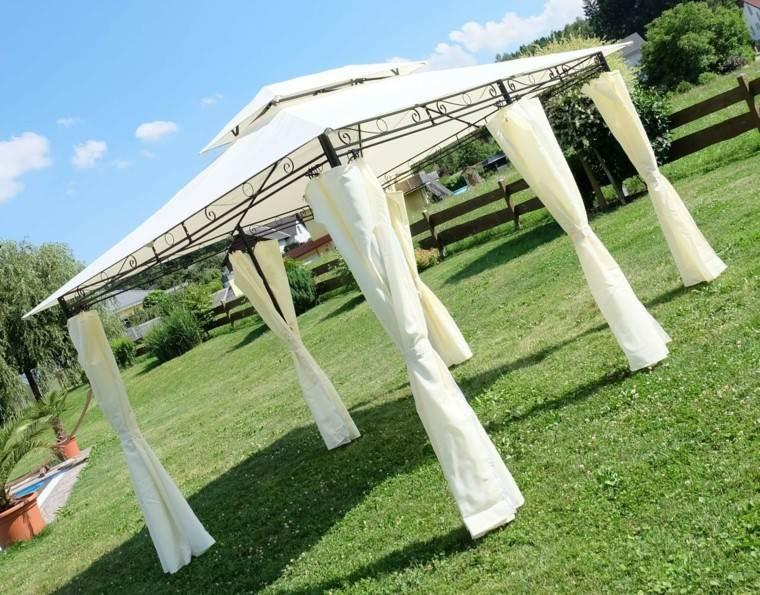 diseño cenadores cortinas blancas