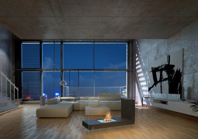 Salones con chimenea cincuenta dise os acogedores - Chimeneas minimalistas ...