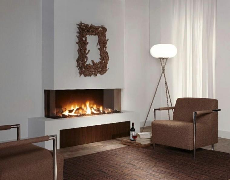 Salones con chimenea cincuenta dise os acogedores - Salones modernos con chimenea ...