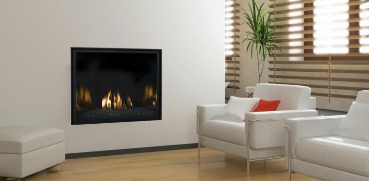 diseño chimeneas modernas blanco madera plantas