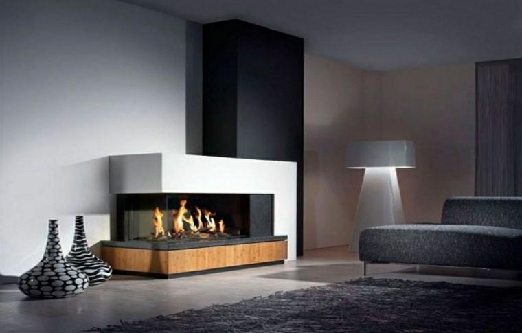 diseño chimeneas modernas jarrones madera alfombra