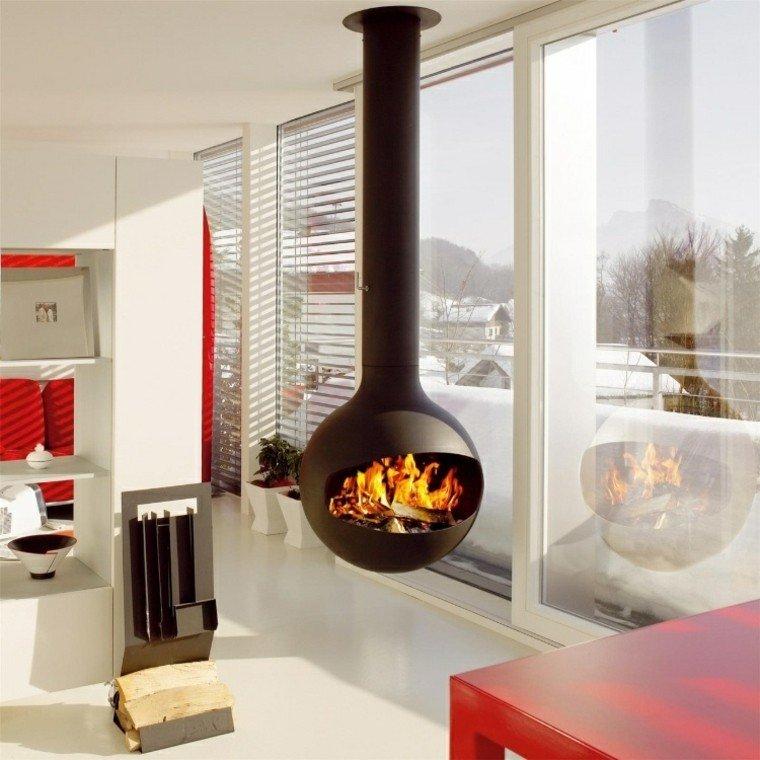 diseño chimeneas modernas madera esfera fuego