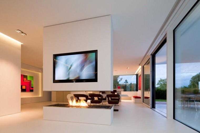 diseño chimeneas modernas madera patio fuego