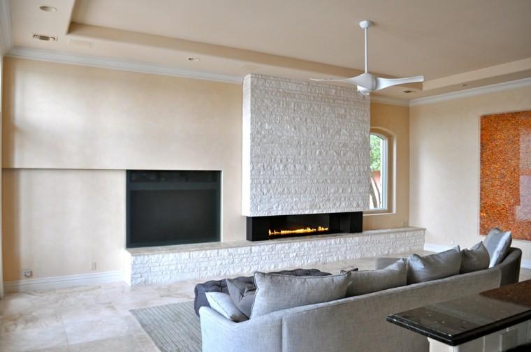 diseño chimeneas modernas minimalista salon ventilador