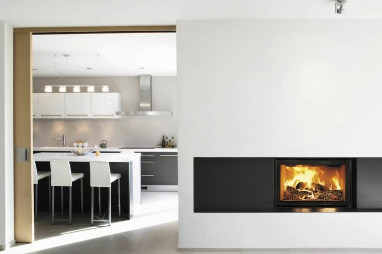 Dise o chimeneas modernas y 50 ideas para entrar en calor - Paredes divisorias ...