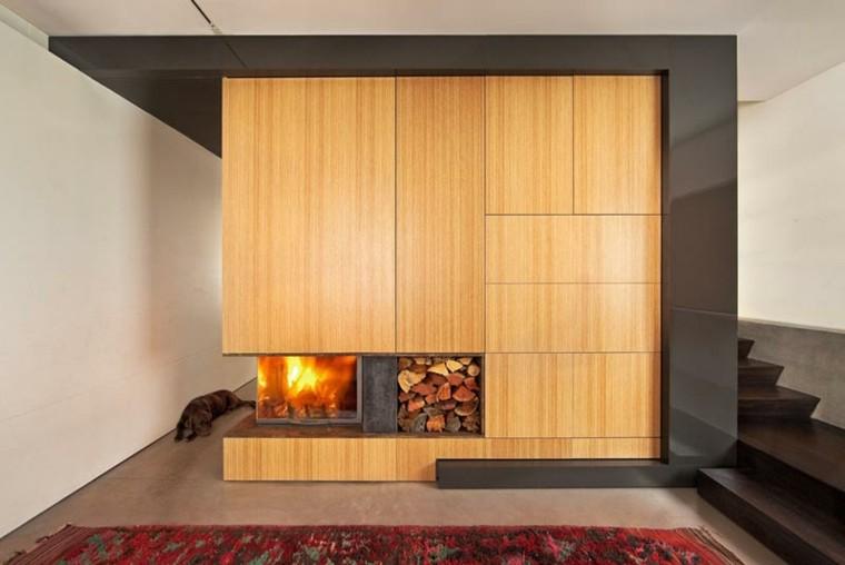 Dise o chimeneas modernas y 50 ideas para entrar en calor - Chimeneas de madera ...