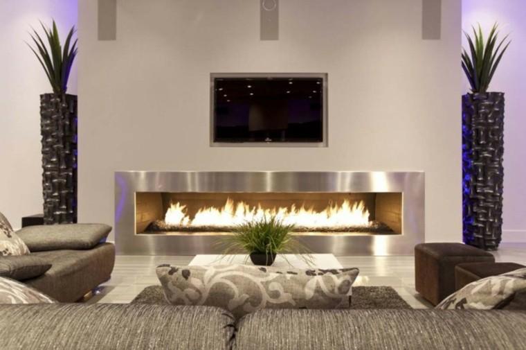 diseño chimeneas modernas plantas televisor jardineras