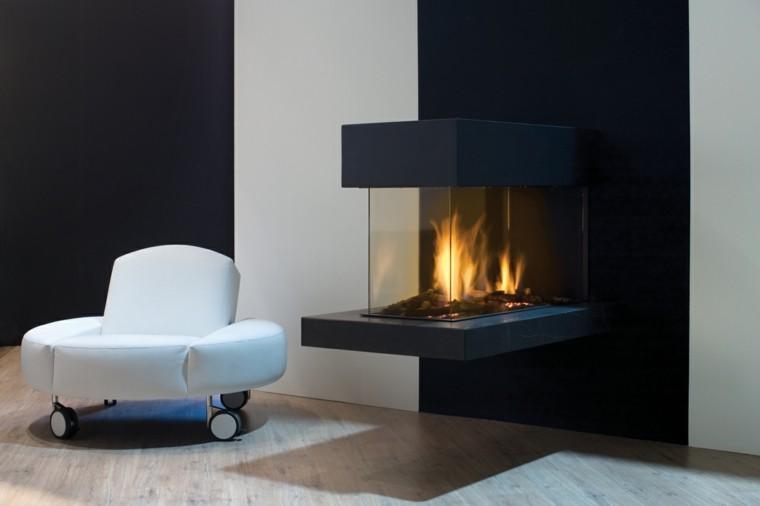 diseño chimeneas modernas sofa blanco fuego