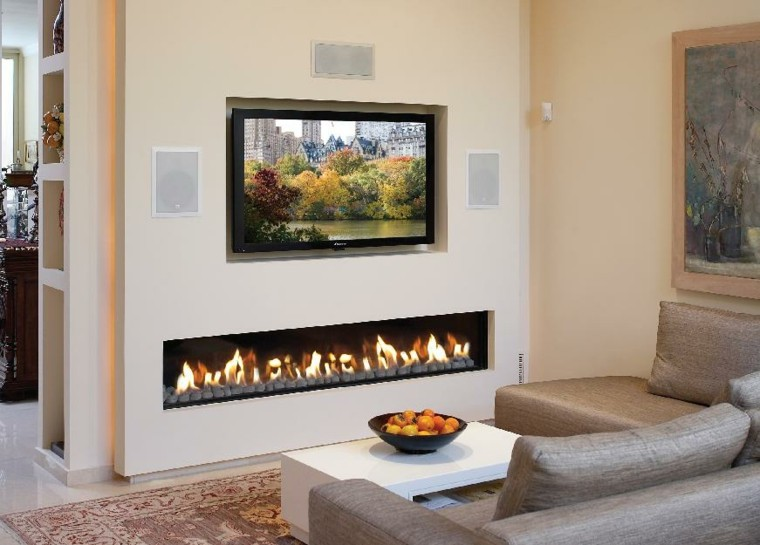 diseño chimeneas modernas television rocas cuadro