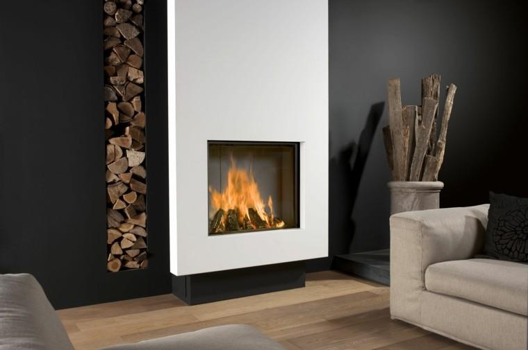 diseño chimeneas modernas troncos apilados sofa