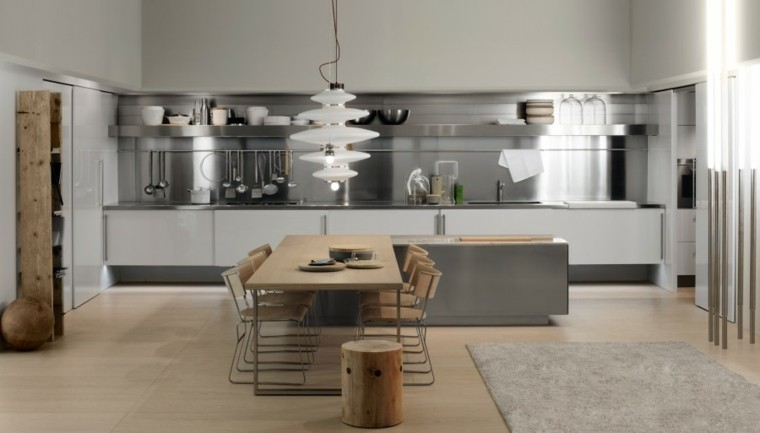 diseño cocina muebles acero madera