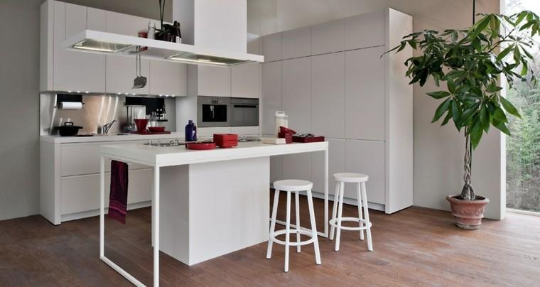 diseño cocina blanca moderna planta