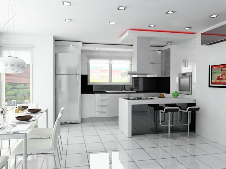 diseño cocina luz led roja
