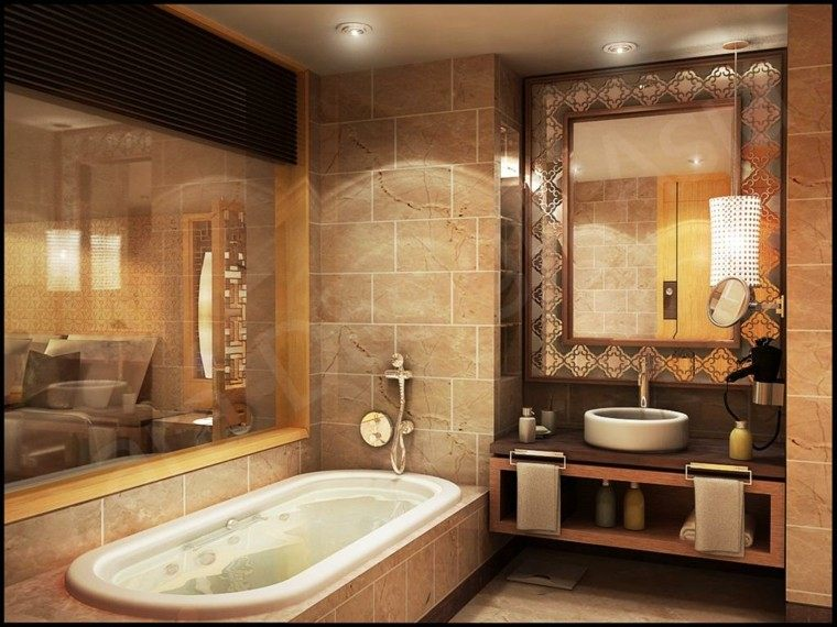 diseño decoracion espejo bañadera lamparas