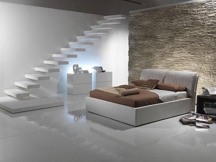 diseño dormitorio escaleras suspendidas blancas