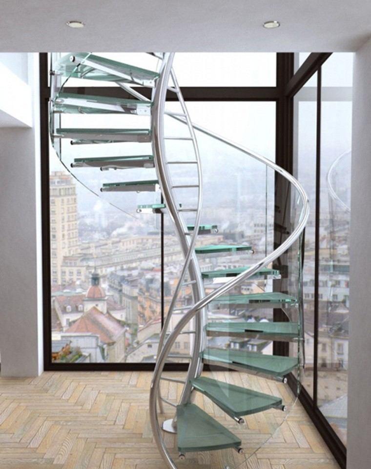 diseño escaleras caracol cristal metal