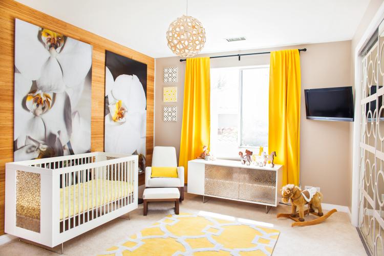 diseño habitaciones infantiles amarillo cortinas flores