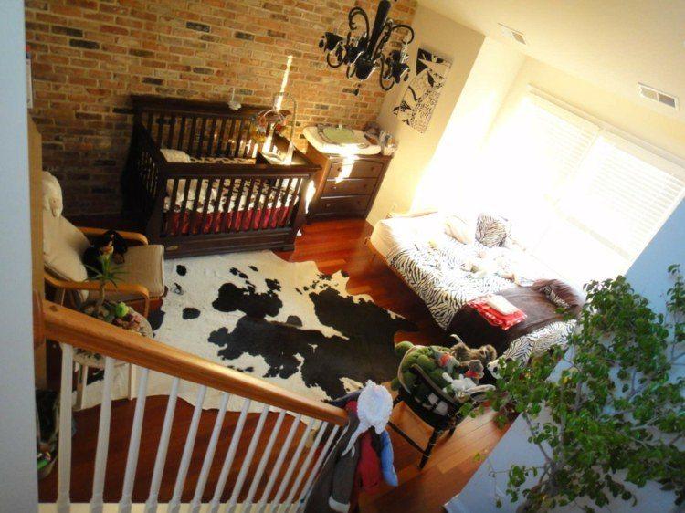 diseño habitaciones infantiles cama bebe ladrillos