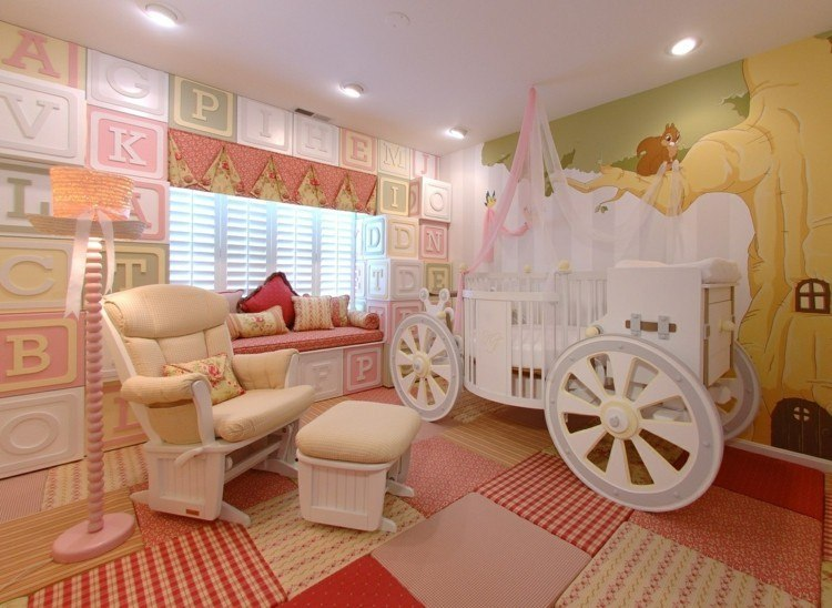 diseño habitaciones infantiles carruaje lamparas princesa