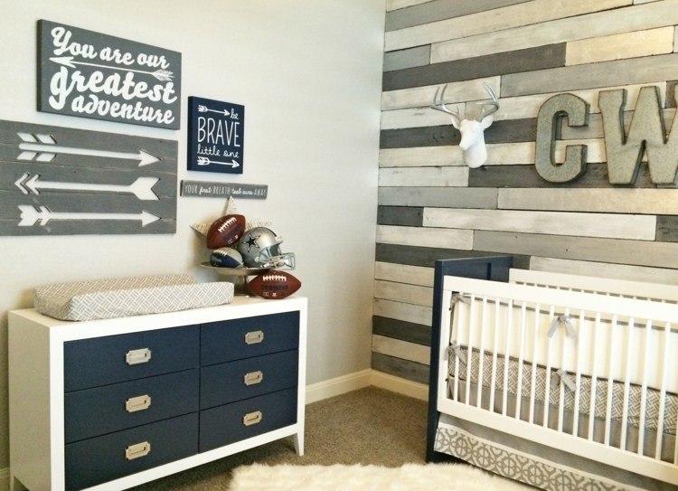 diseño habitaciones infantiles flechas gavetero azul