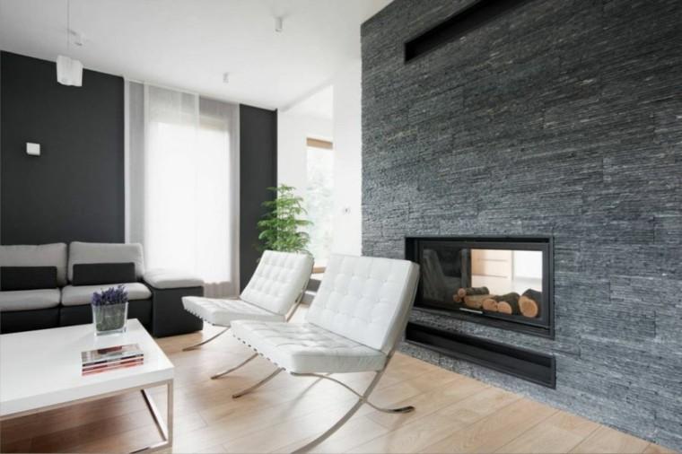 diseño interiores minimalistas chimenea doble gris