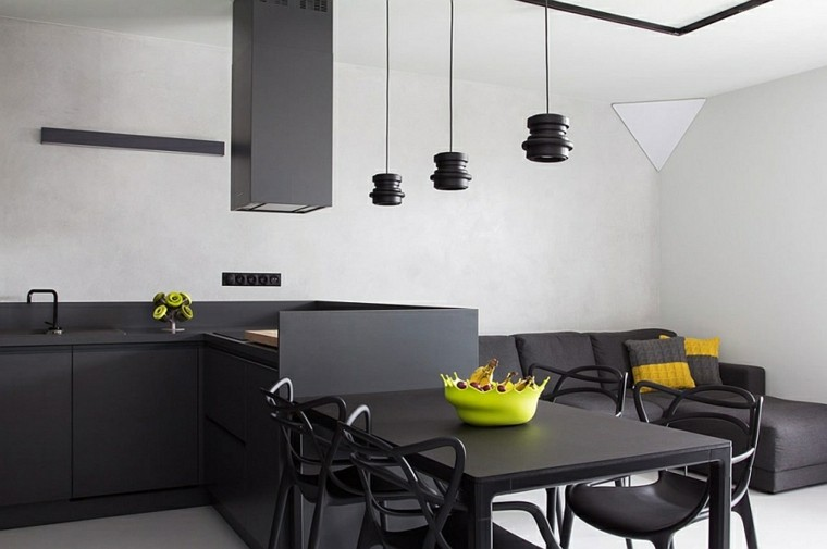 diseño interiores minimalistas cocina centro lamparas