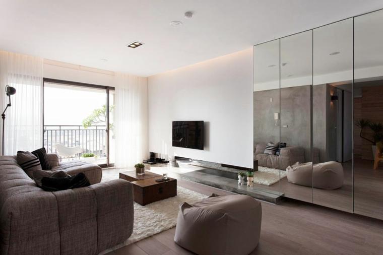 diseño interiores minimalistas cojines cafe muebles