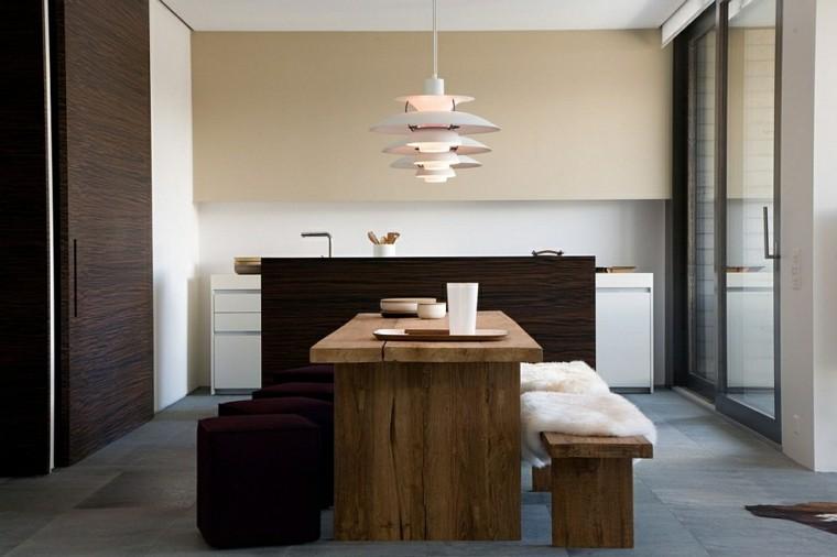 diseño interiores minimalistas linea lamparas madera