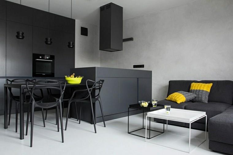 diseño interiores minimalistas negro verde acentos