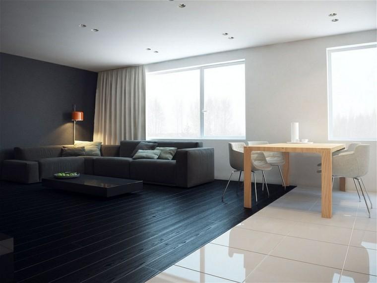 diseño interiores minimalistas oscuro sala piso