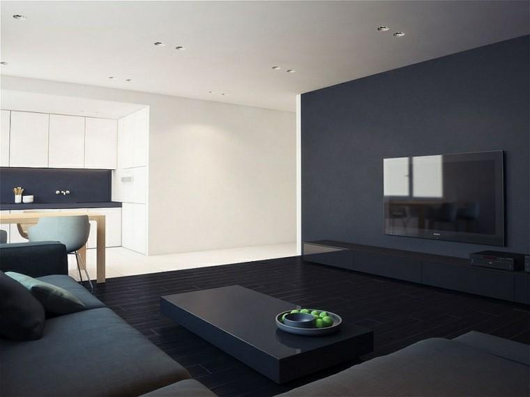 diseño interiores minimalistas paredes lisas negras