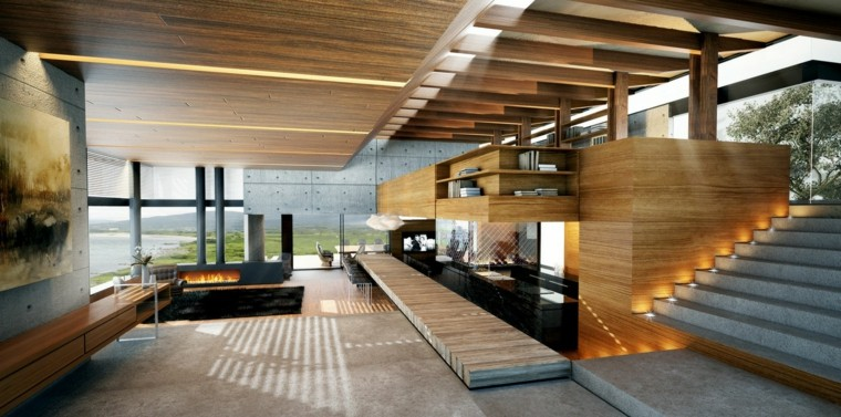 diseño interiores modernos chimenea metal