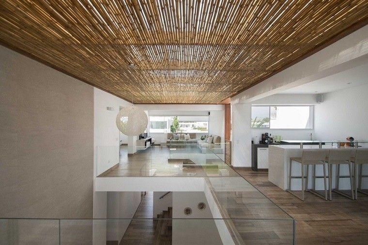diseño interiores techos de madera bambu