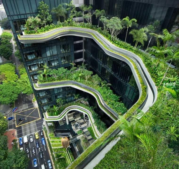 diseño jardines exterior edificio urbano