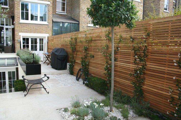 diseño jardines pequeños grava blanca silla