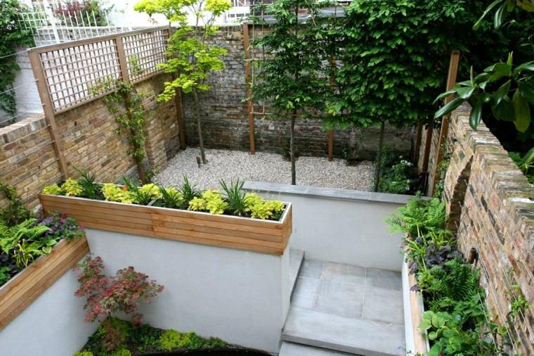 diseño jardines pequeños interiores madera