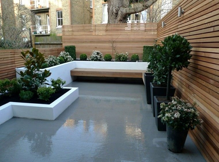 diseño jardines pequeños muro madera listas