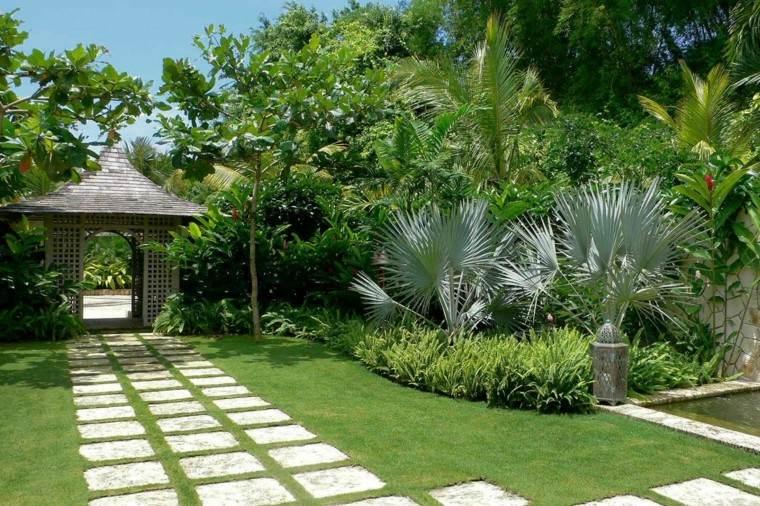 diseño jardines tropical sendero casa