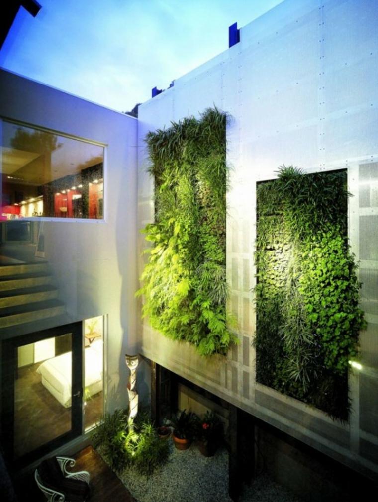 diseño jardines verticales cristales moderno sillas