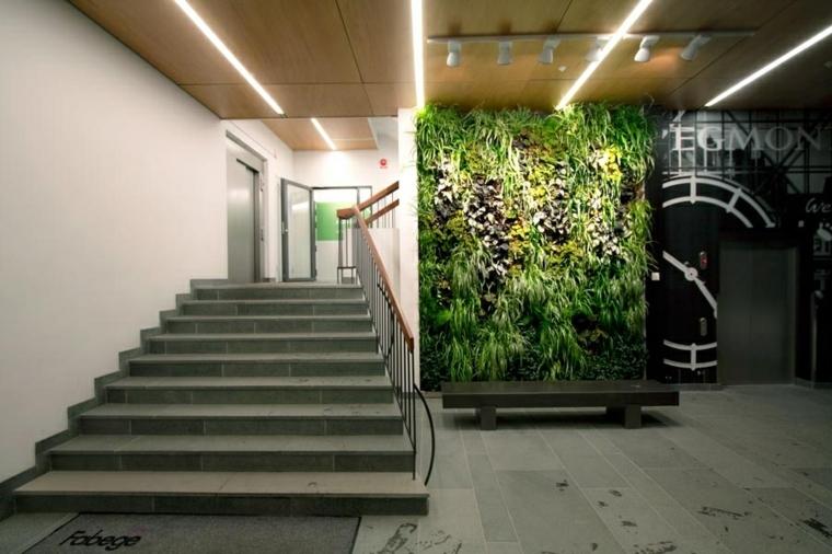 diseño jardines verticales escalones madera techo
