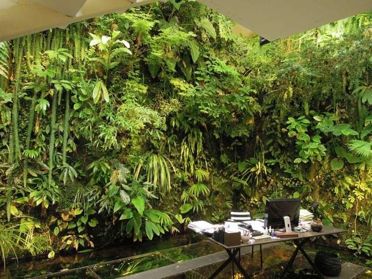 diseño jardines verticales escritorio computadora interiores
