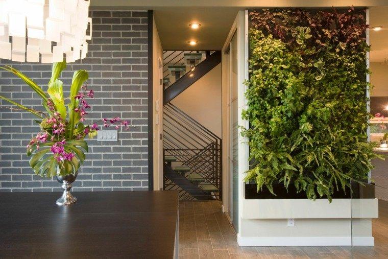 diseño jardines verticales florero ladrillos grises
