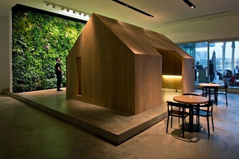 diseño jardines verticales madera moderno mesa