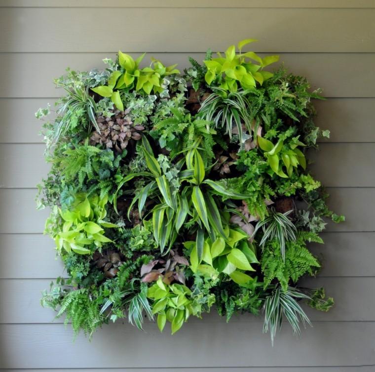diseño jardines verticales madera paredes grises