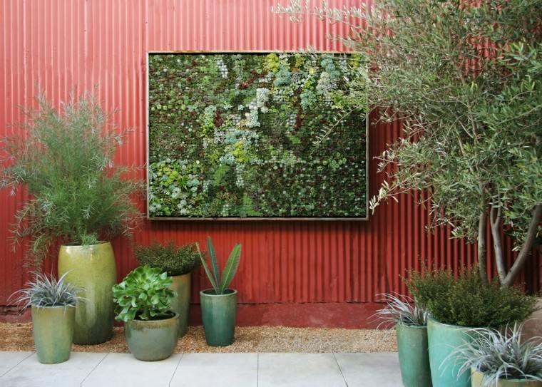 diseño jardines verticales suculenta maceteros rojo
