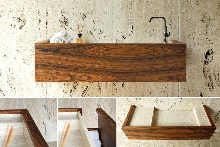 diseño lavabo marmol madera laminada