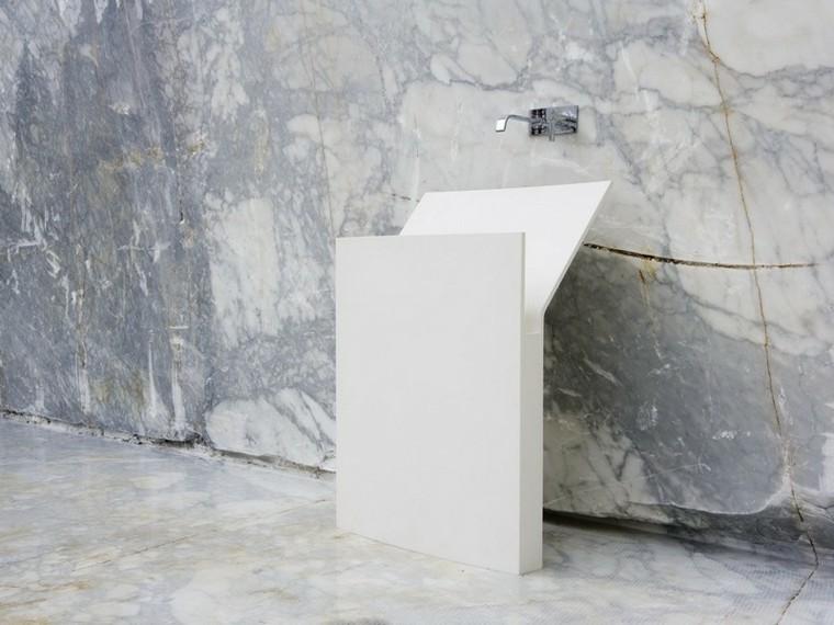 diseño lavabo vertical estrecho blanco