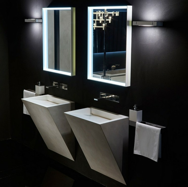diseño lavabos modernos integrados pared