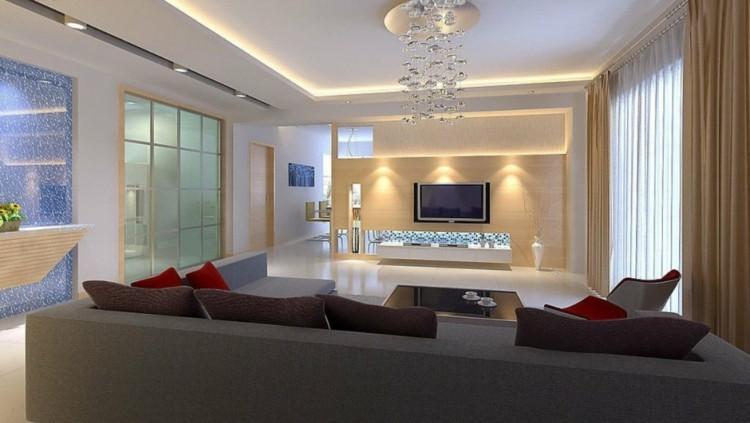 diseño techo luces led salon